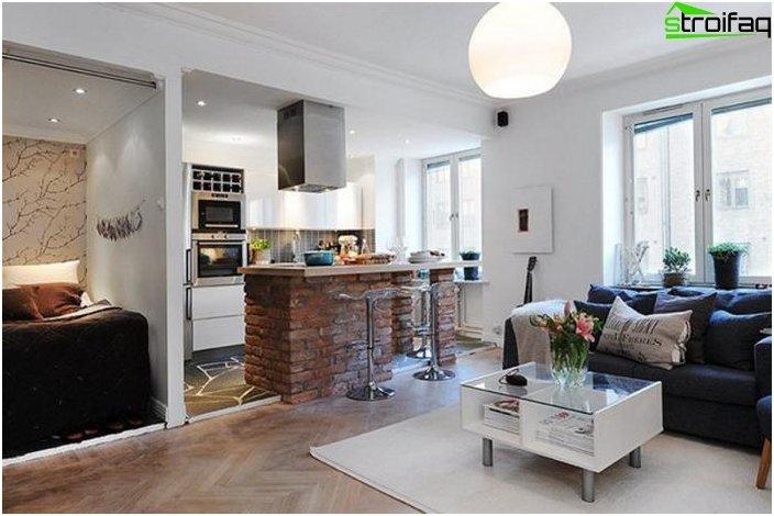 Diseño de la cocina-sala de estar - foto 21
