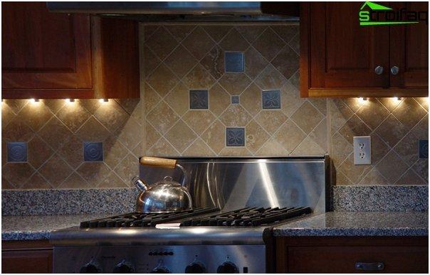 Fliesen für die Küche (diagonale Verlegung) - 2