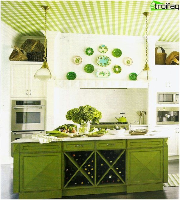 Furniture for kitchen in green tones-2