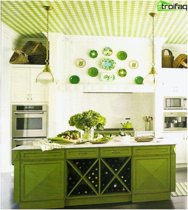 Møbler til køkken i grønne toner-2