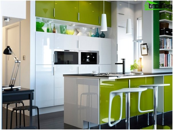 Furniture for kitchen in green tones-3
