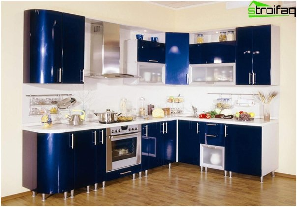 Furniture for kitchen in blue tones-2