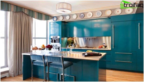 Møbler til køkken i blå toner - 4