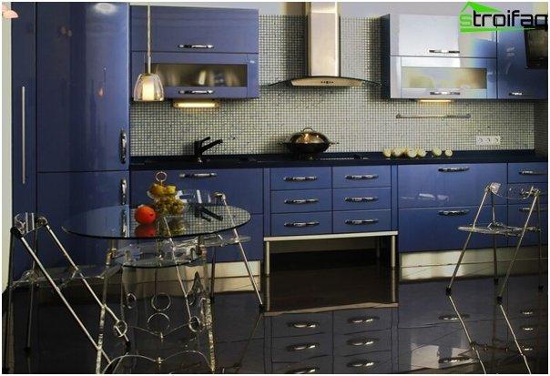 Møbler til køkken i blå toner - 5