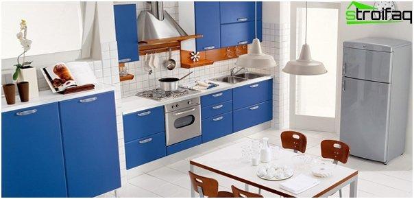Møbler til køkken i blå toner - 6
