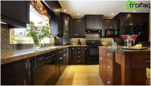 Furniture for the kitchen in dark colors - 1