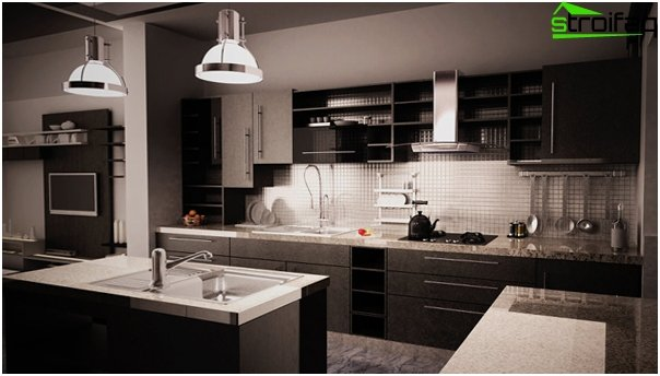 Furniture for the kitchen in dark colors-2
