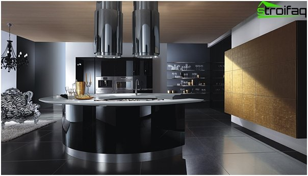 Furniture for the kitchen in dark colors-3