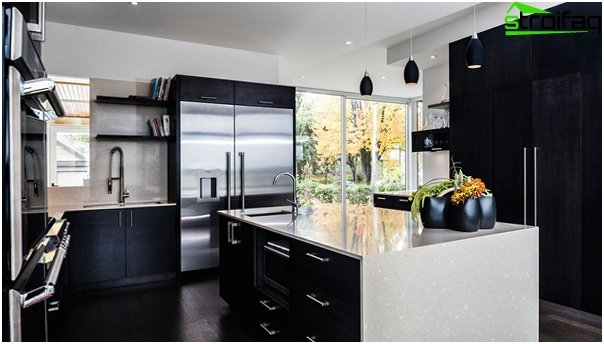 Furniture for the kitchen in dark colors - 4