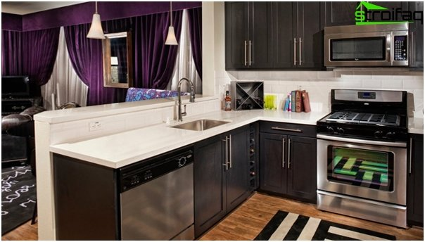 Furniture for the kitchen in dark colors - 5