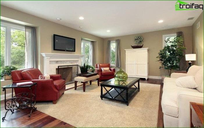 Foto del diseño de la sala de estar en una casa privada.