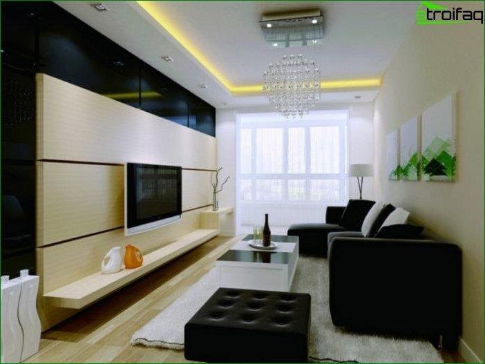 Foto del diseño de la sala de estar de 18 metros cuadrados. metro