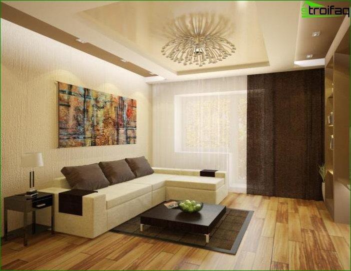 Foto del diseño de la sala de estar de 20 metros cuadrados. metro