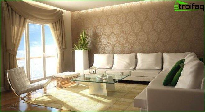 Wallpaper in the design of the living room
