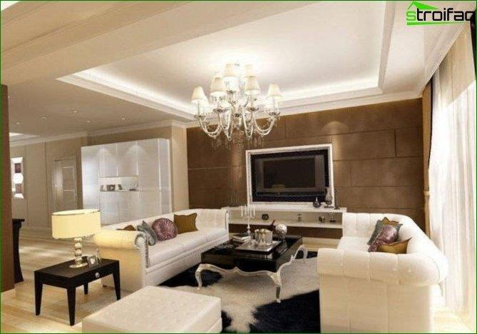 Photo of the design of the ceiling in the room