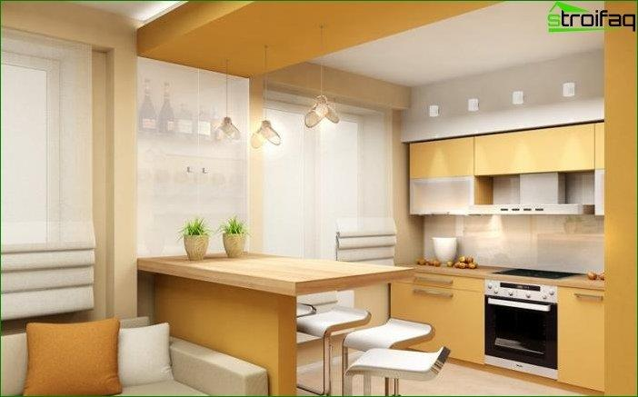 Design of plasterboard ceilings for the kitchen