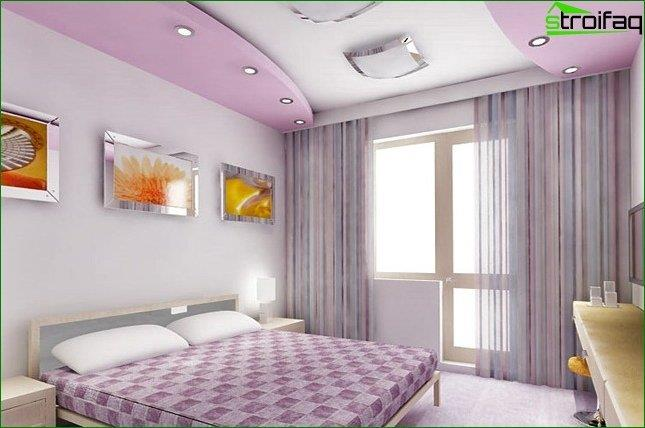 The design of the ceiling in the bedroom