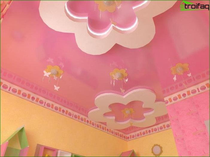 Drywall ceiling design in a children's bedroom