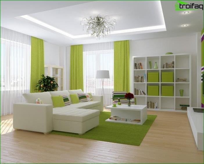 Plasterboard ceiling design in the living room