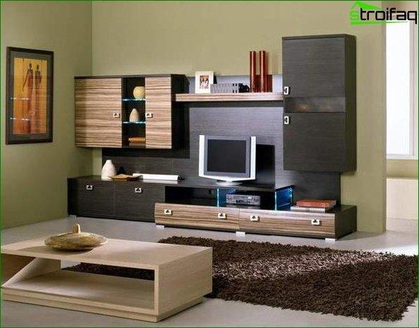 Foto papel tapiz para la sala con muebles oscuros