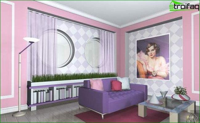Photo wallpaper for the hall with bright furniture