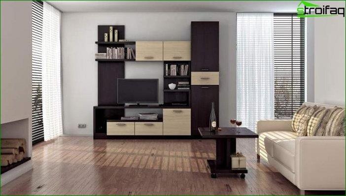 Papel tapiz fotográfico para el salón con muebles bicolores