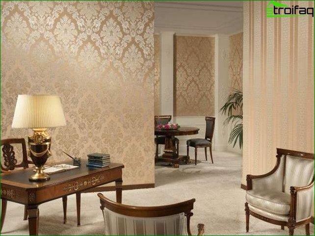 Papel pintado para el salón en un estilo clásico.