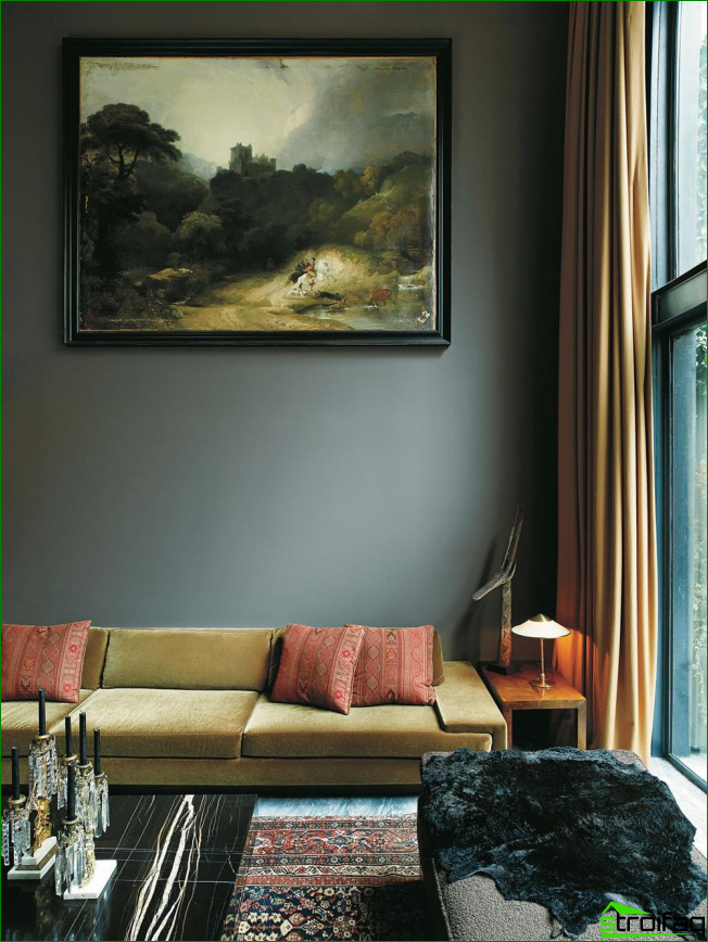 Wildlife painting in muted tones fits perfectly into the interior of a dark living room
