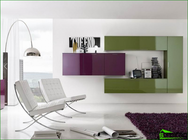 Colored wall for the living room in white