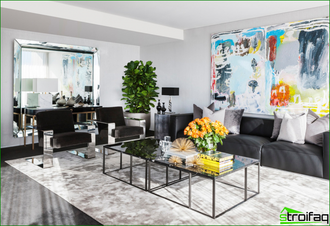 Chic living room in art deco style with shiny decor