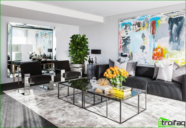 Elegante sala de estar en estilo art deco con decoración brillante