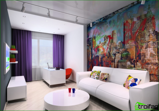 Bright pop art with white glossy furniture.