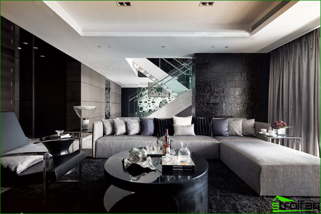 To correctly balance the matte dark tones - add gloss, it will visually expand the space and give a feeling of solemnity