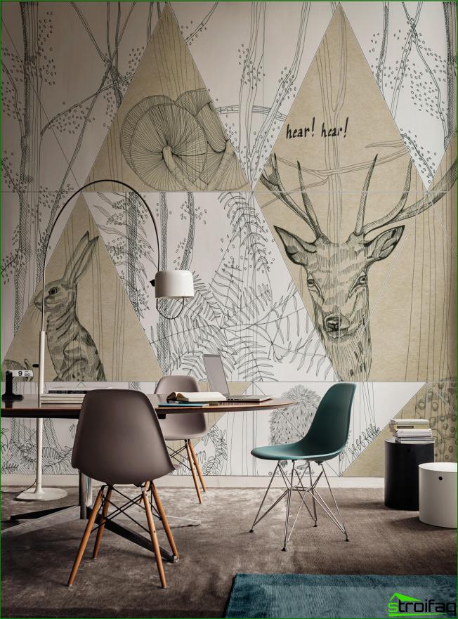 La solución original para el diseño del espacio de trabajo con dibujos gráficos en toda la pared.
