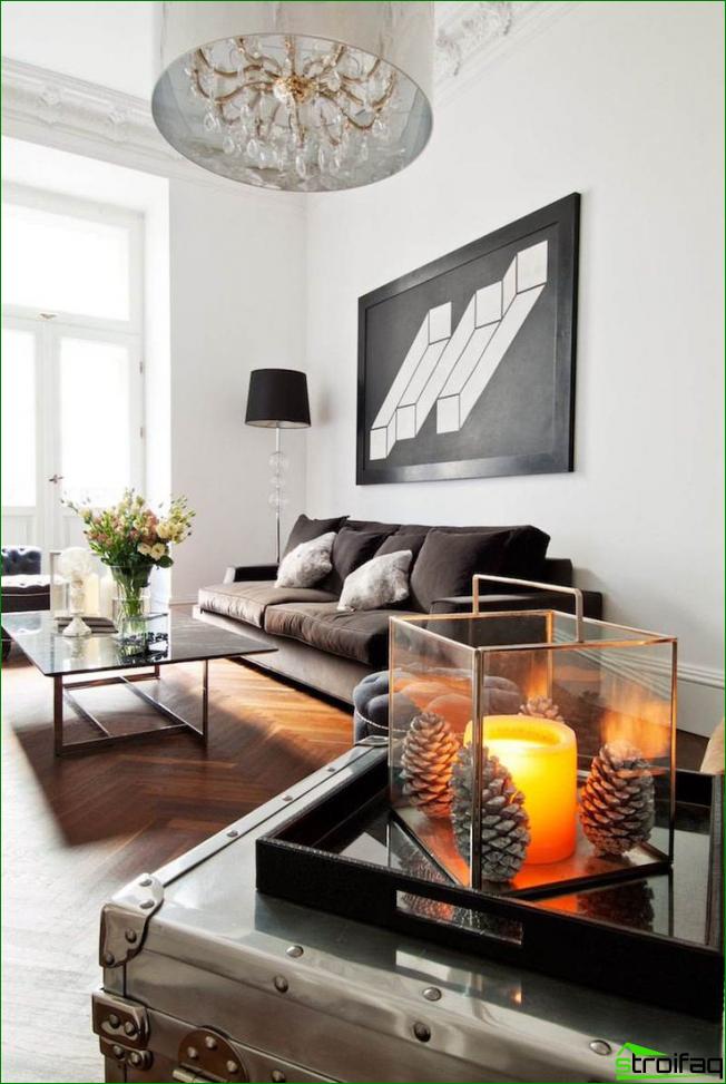 Una imagen inusual de una ilusión gráfica en una espaciosa sala de estar monocromática en colores brillantes.