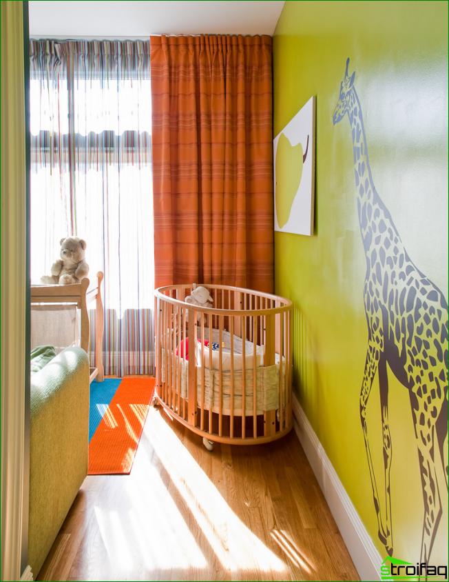 Además, los dibujos gráficos se pueden usar para diseñar una habitación infantil, solo tome un color rico y brillante como base
