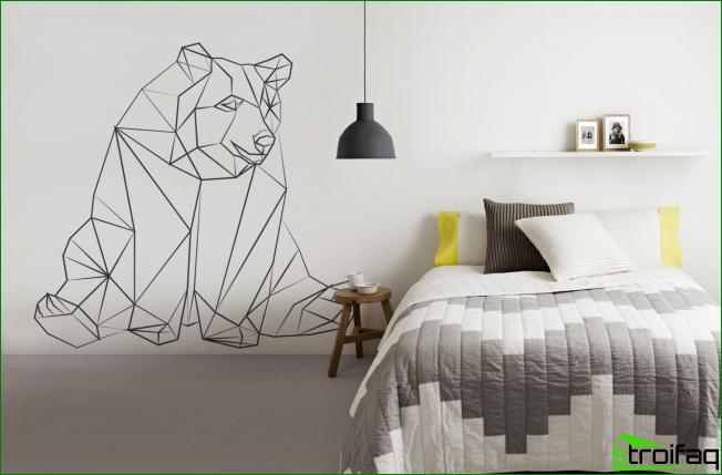 Dibujo original en el dormitorio. Su simplicidad de ejecución complementa el ambiente general del interior.