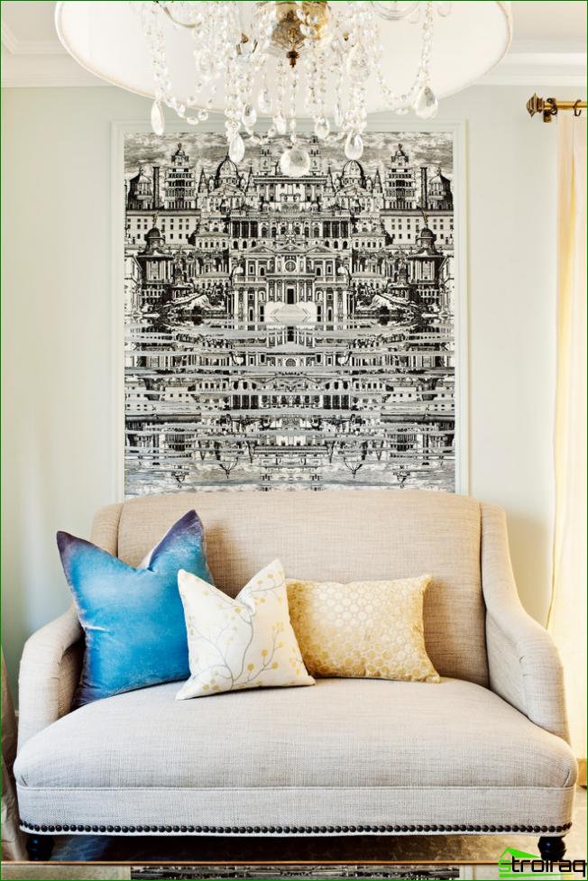 Composición gráfica muy detallada y llamativa en una sala de estar luminosa