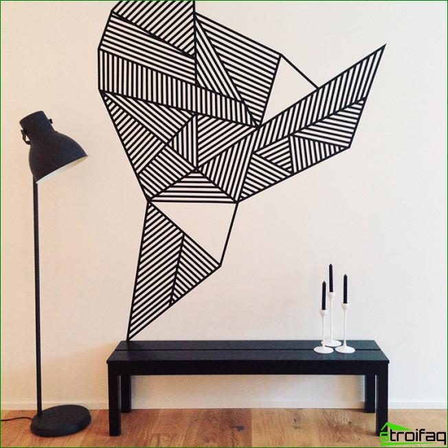 Abstracción geométrica inusual realizada en técnica gráfica.