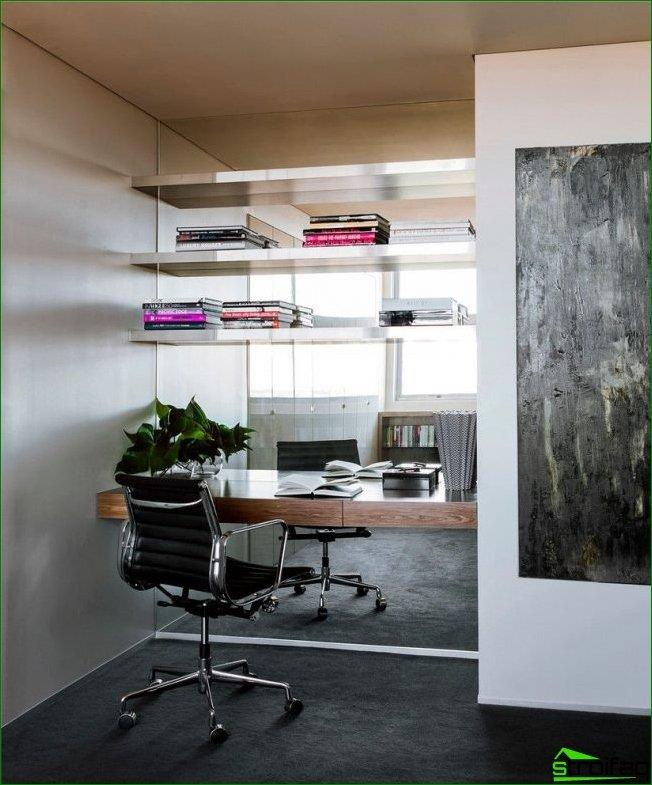 A mirror wall in the work area creates a window effect instead of a wall