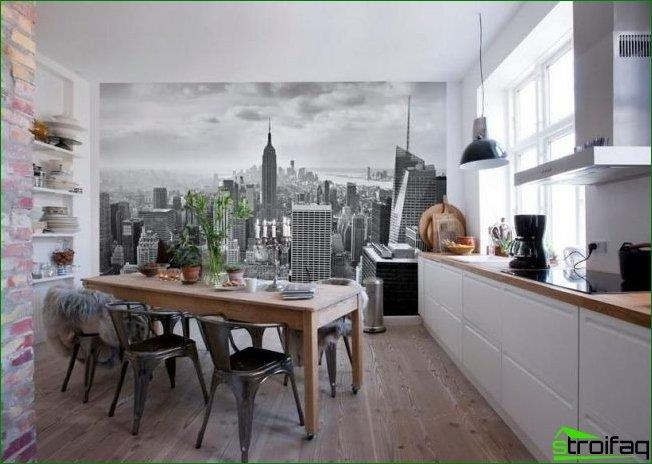 Wall mural city in the kitchen in the loft style