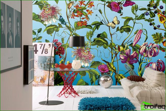 Hermosa decoración de pared con papel tapiz floral no tejido