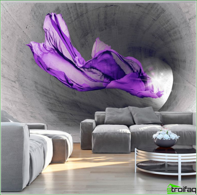 Aumento visual de una habitación utilizando un panel 3D en la pared.