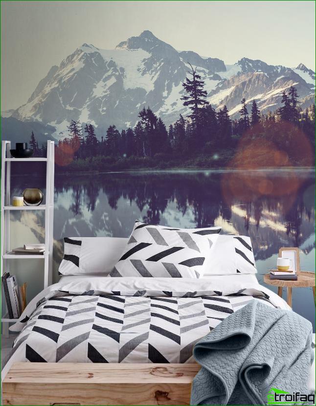 Dormitorio de estilo escandinavo con encantador panel de pared