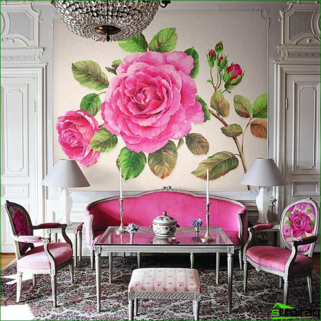 Imperio floral brillante con decoración de pared mural