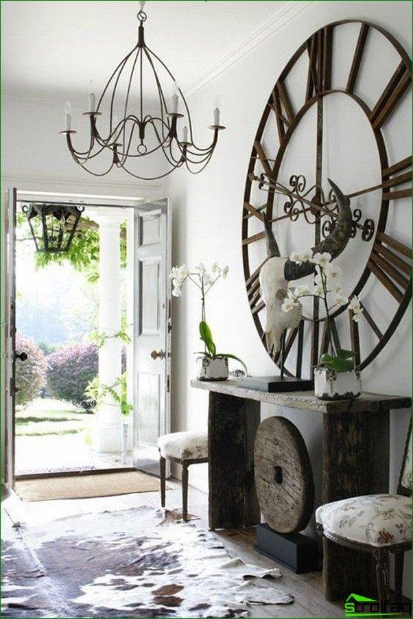 Wrought iron chandelier in the hallway Provence