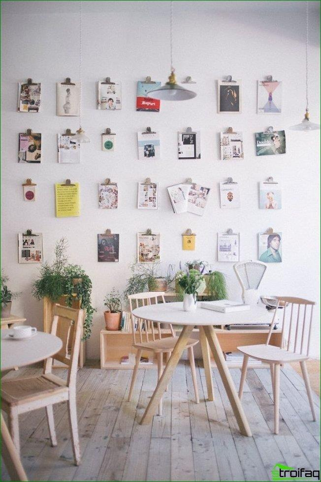 Estilo escandinavo en el diseño de la cafetería.