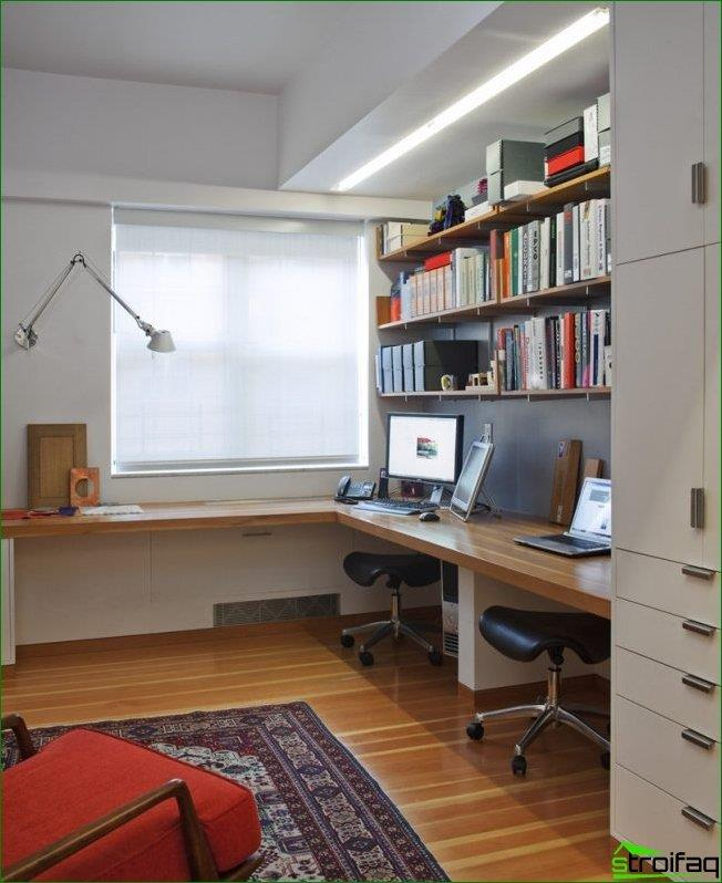 A corner window-sill-countertop is a good option for the design of the workspace of the student. It can be supplemented with shelves and a cupboard case for greater convenience