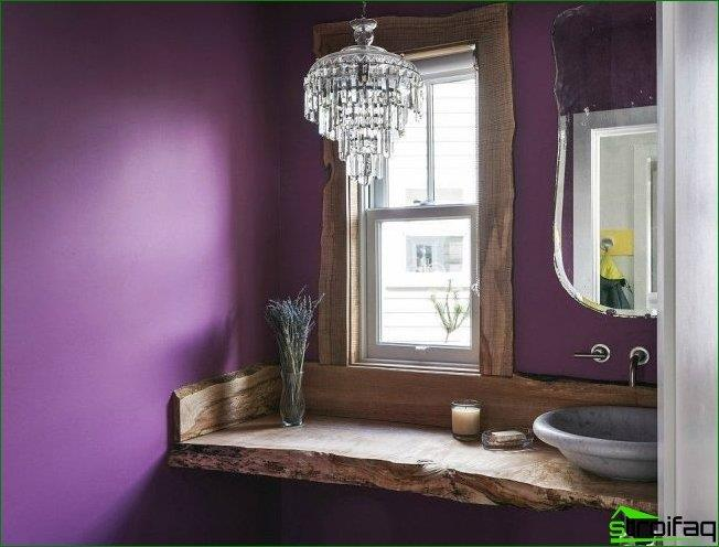 Very atmospheric bathroom with natural solid wood window sill