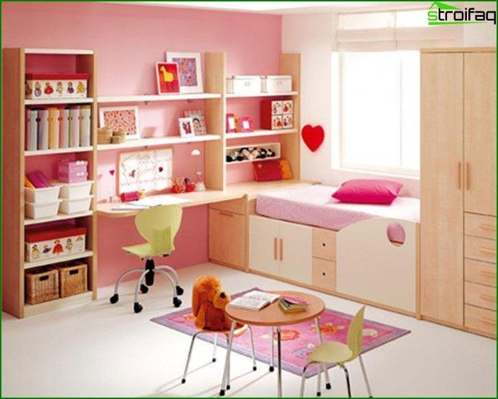 Diseño interior de un dormitorio infantil.